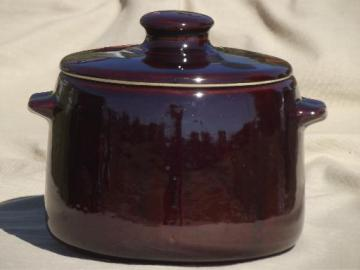 vintage stoneware bean pot, West Bend brown glazed pottery crock w/ lid