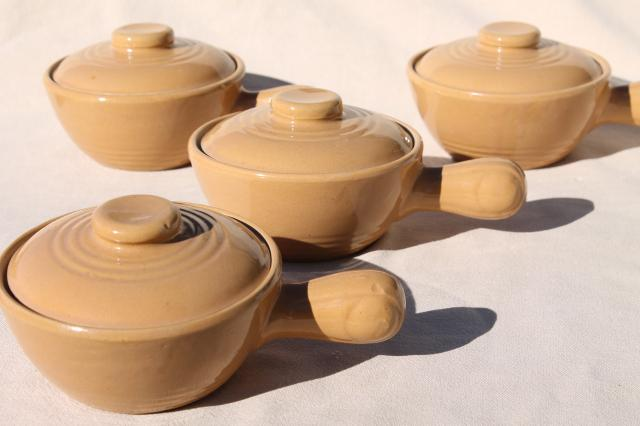 Vintage Stoneware Covered Soup Chowder Bowls Stick