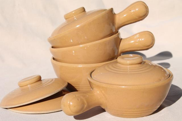 vintage stoneware covered soup / chowder bowls, stick handle casserole dishes set