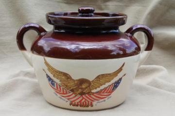 vintage stoneware crock bean pot, 1976 Americana US flag & eagle
