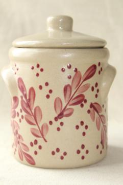 vintage stoneware crock w/ lid, hand painted barn red BBP Beaumont Brothers pottery