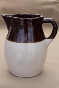 vintage stoneware pitcher, Robinson Ransbottom pottery brown band stoneware milk jug