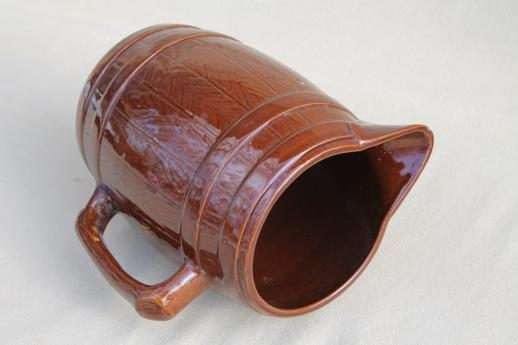 vintage stoneware pottery beer barrel pitcher, old oak banded barrel pattern
