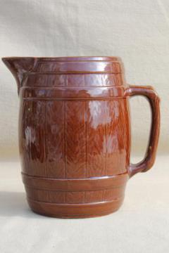 vintage stoneware pottery beer barrel pitcher, old oak banded barrel pattern
