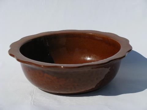 vintage stoneware pottery bowl w/ brown glaze, scalloped edge
