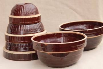vintage stoneware pottery bowls, rockingham brown glaze bowl nest stack & big mixing bowls