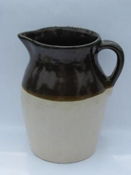 vintage stoneware pottery milk pitcher, old wide brown band pattern