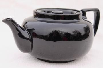 vintage stoneware pottery teapot, big heavy old tea pot w/ black glaze