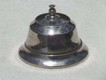 vintage store counter bell, nice old nickel silver hotel desk call bell