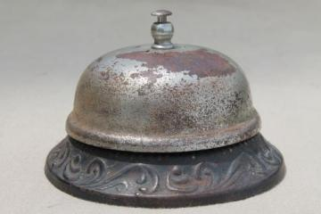 vintage store counter bell, rusty antique hotel desk call push bell