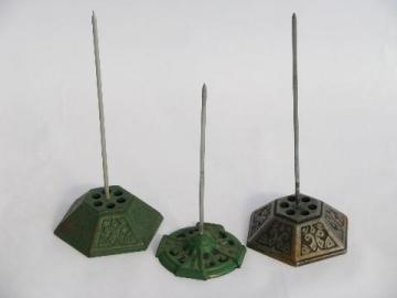 vintage store counter desk paper spindle lot, antique cast iron bill spikes