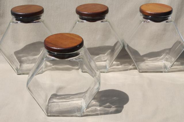 vintage store counter style glass canister jars w/ wood lids, canisters set & cookie / cracker jar