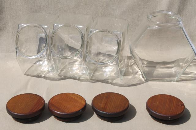 vintage store counter style glass canister jars w/ wood ...