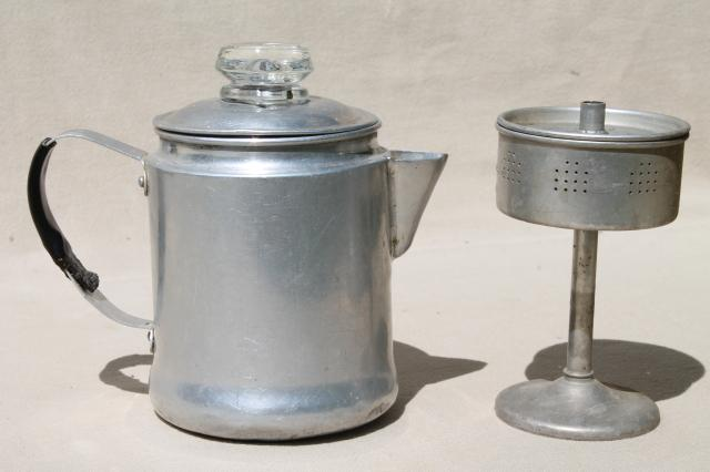 Camping Coffee Maker Percolator : vintage stovetop coffee percolators, 2 cup & 5 cup aluminum coffeepots for camping