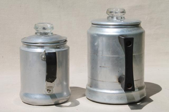 vintage stovetop coffee percolators, 2 cup & 5 cup aluminum coffeepots for camping