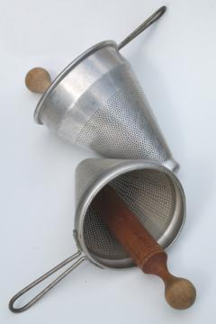 vintage strainer / food mill cone shaped sieves w/ wood masher pestle kitchen utensils