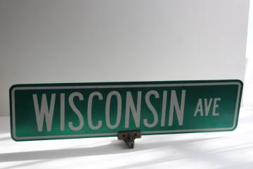 vintage street sign Wisconsin Ave double sided sign w/ mounting bracket