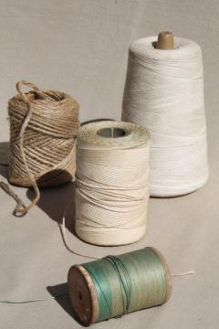 vintage string collection - rustic old wood spool of cord thread, cotton twine etc.