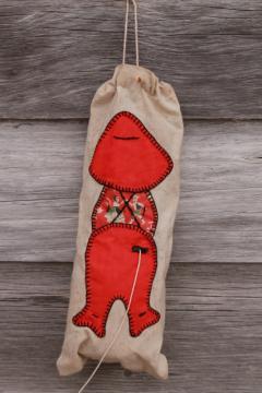 vintage string holder for laundry, sewing room, kitchen - Overalls Sam patchwork applique