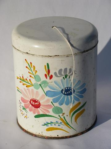 vintage string holder, old Ransburg hand-painted toleware kitchen canister
