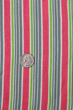 vintage stripe print cotton feedsack fabric, sewn sack w/ original chain stitching