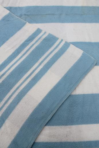 Vintage Striped Cotton Flannel Blankets Shabby Cottage