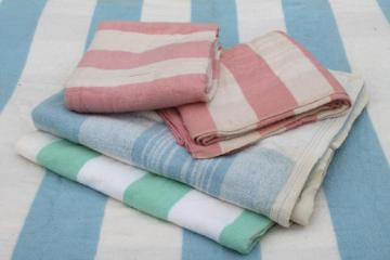 vintage striped cotton flannel blankets, shabby cottage / camp blanket lot