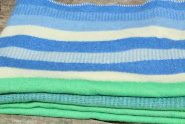 vintage striped wool camp blanket, summer cottage beach colors blue & mint green