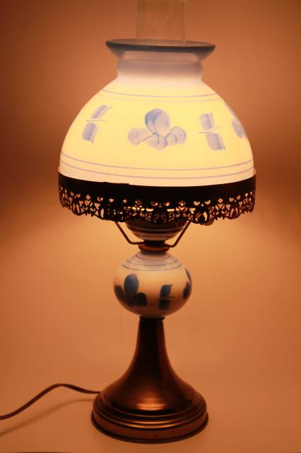 vintage student lamp w/ hand painted blue & white milk glass shade, farmhouse kitchen parlor lamp