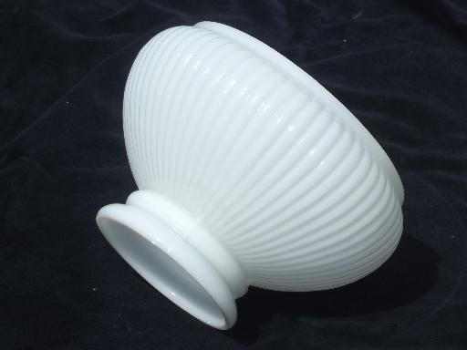 White Milk Glass Lamp Shade: vintage student lamp shade, ribbed white milk glass lampshade,Lighting