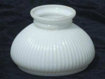 vintage student lamp shade, ribbed white milk glass lampshade