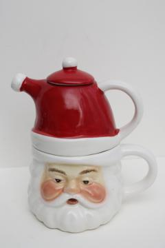 vintage style Christmas teapot & cup for one, Santa face mug w/ red hat pot on head