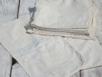 vintage sugar sacks lot, cotton feed sack fabric bags w/ chain stitching