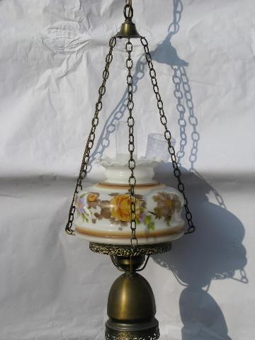 Vintage Swag Lamp Golden Roses Painted Glass Shade