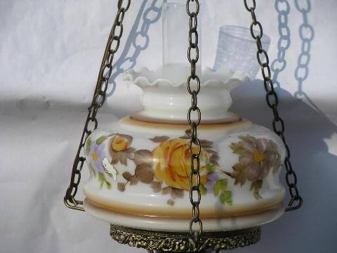 vintage swag lamp, golden roses painted glass shade hanging light for cabin or cottage
