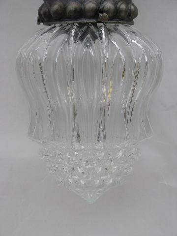 vintage swag lamp, silver w/ crystal glass shade, french chandelier style