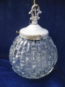 vintage swag lamp, white w/ crystal glass shade, french chandelier style