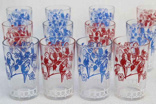 vintage swanky swigs glass tumblers  parakeets print in red  white and blue  12 jelly glasses