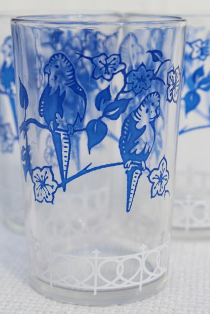 vintage swanky swigs glass tumblers, parakeets print in red, white and blue, 12 jelly glasses