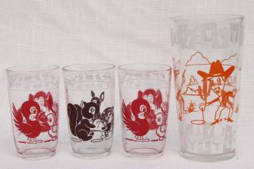 vintage swanky swigs jelly glasses, baby animals juice tumblers & tall cowboy drinking glass
