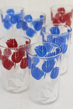vintage swanky swigs, jelly glasses glass tumblers tulips print in red, white and blue
