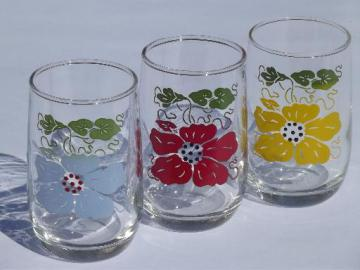 vintage swanky swigs kitchen glass drinking glasses, primary colors flowers