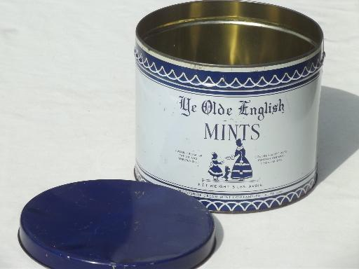 vintage sweets tin, Devonshire Cream Mints large blue & white canister