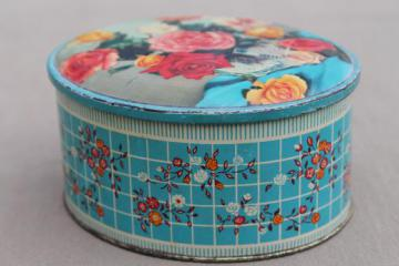 vintage sweets tin made in England, old roses photo print tin candy container