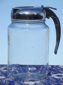 vintage syrup pitcher w/ big 1 qt glass jar, Nev R Drip drip-cut style lid