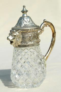 vintage syrup pitcher w/ ornate silver lion head, crystal clear glass jar