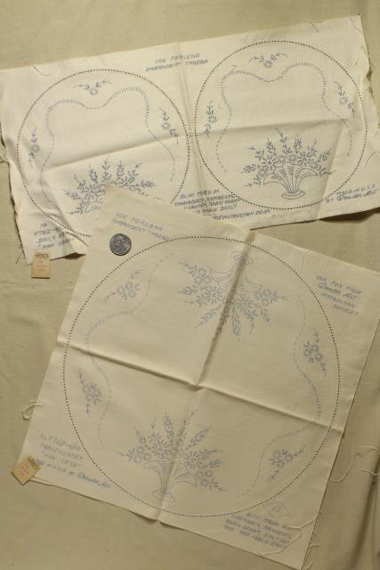 vintage table linens & pillowcases to embroider, stamped for embroidery hand stitching