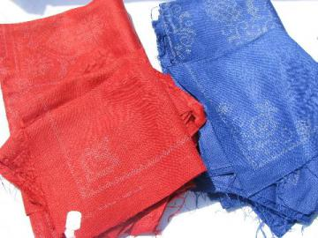 vintage table linens stamped to embroider, red & blue linen fabric tablecloths & napkins