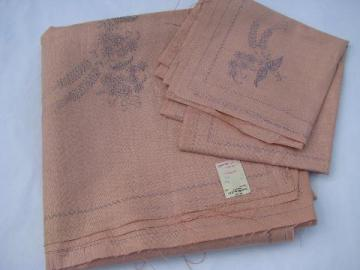 vintage table linens stamped to embroider, rose pink linen fabric tablecloth & napkins
