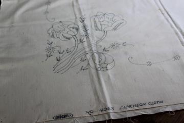 vintage tablecloth stamped for embroidery, tulips to hand stitch, depression era needlework